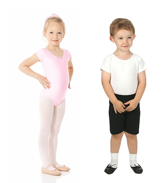 Pink leotard and boy